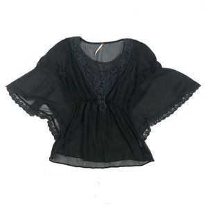 Free People Black Sheer Boho Blouse Size Small